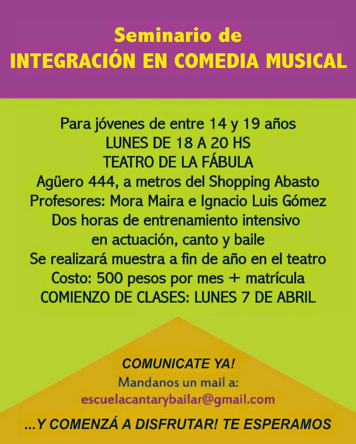 NUEVO CURSO!!! Comedia Musical - Abiertas las inscripciones.
