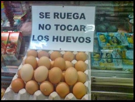 Cartel de advertencia de no tocar los huevos.