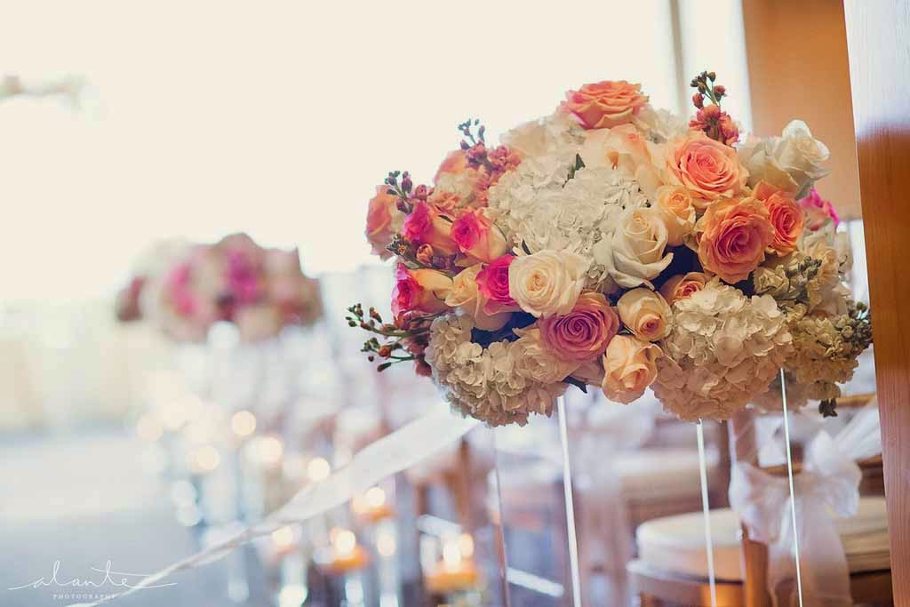 Four Seasons Hotel Seattle wedding, luxury wedding ceremony, ceremony aisle decor
