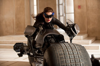 Anne Hathway as Selina Kyle, Rides the Batcycle, The Dark Knight Rises, Directed by Christopher Nolan