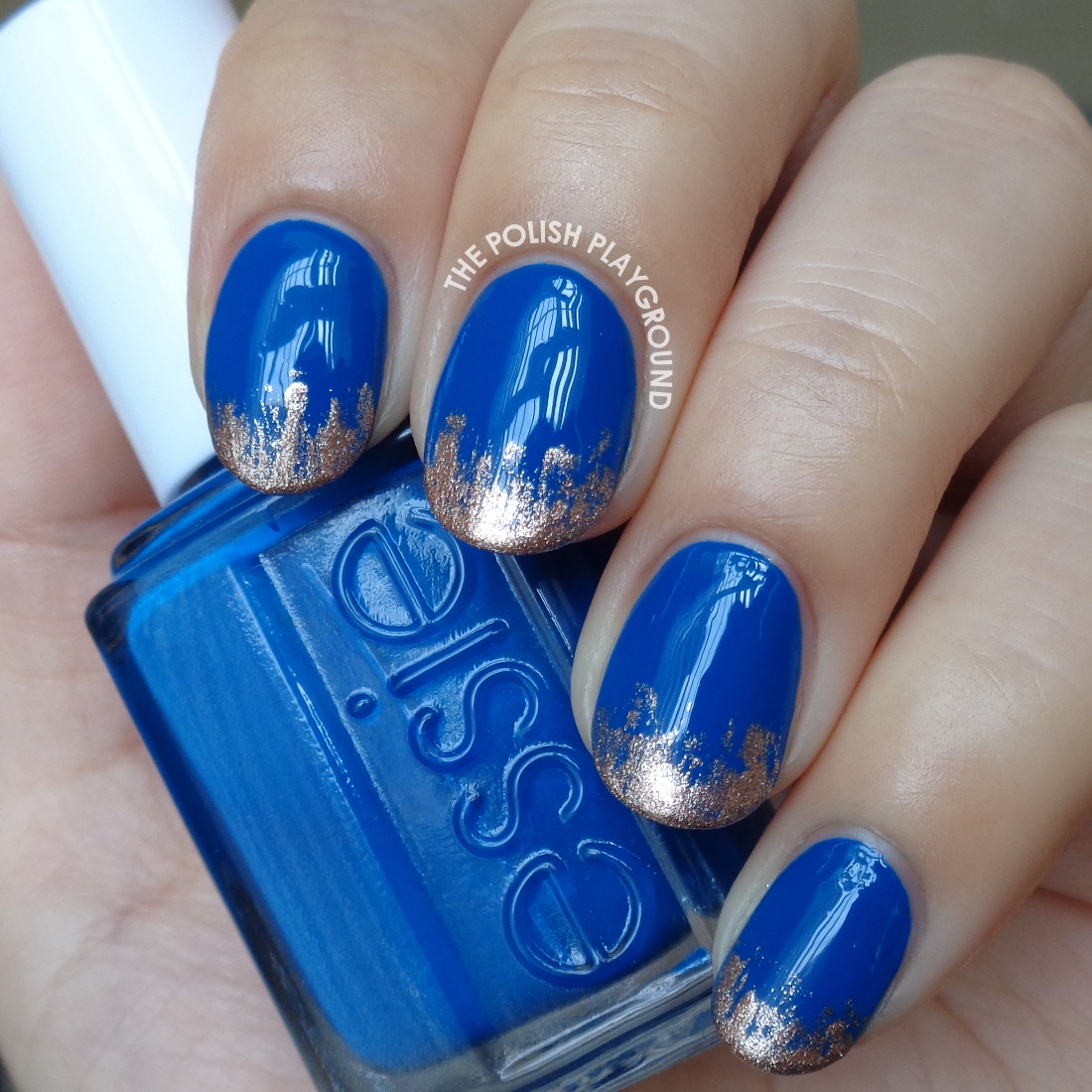 Nail Polish Tips: The Polish Playground: Royal Blue With Rose Gold Tips