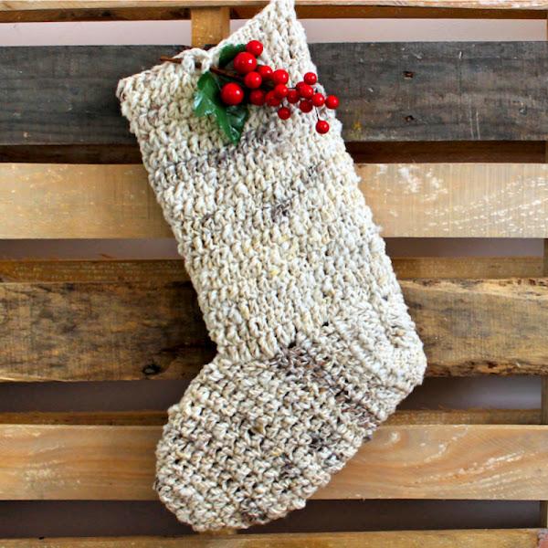 Bota (Calcetín) de Navidad a Crochet
