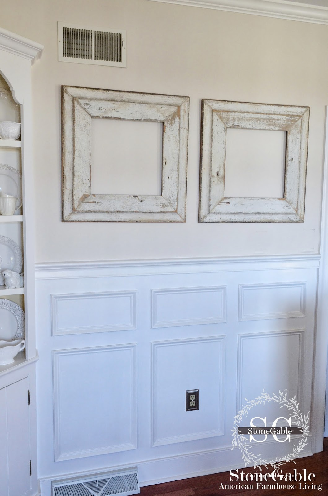 What should i put in these chippy frames interior for Dining room picture frames