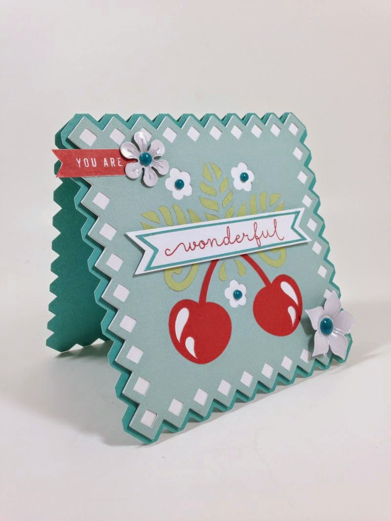 Cricut You Are Wonderful Cherry card sideview