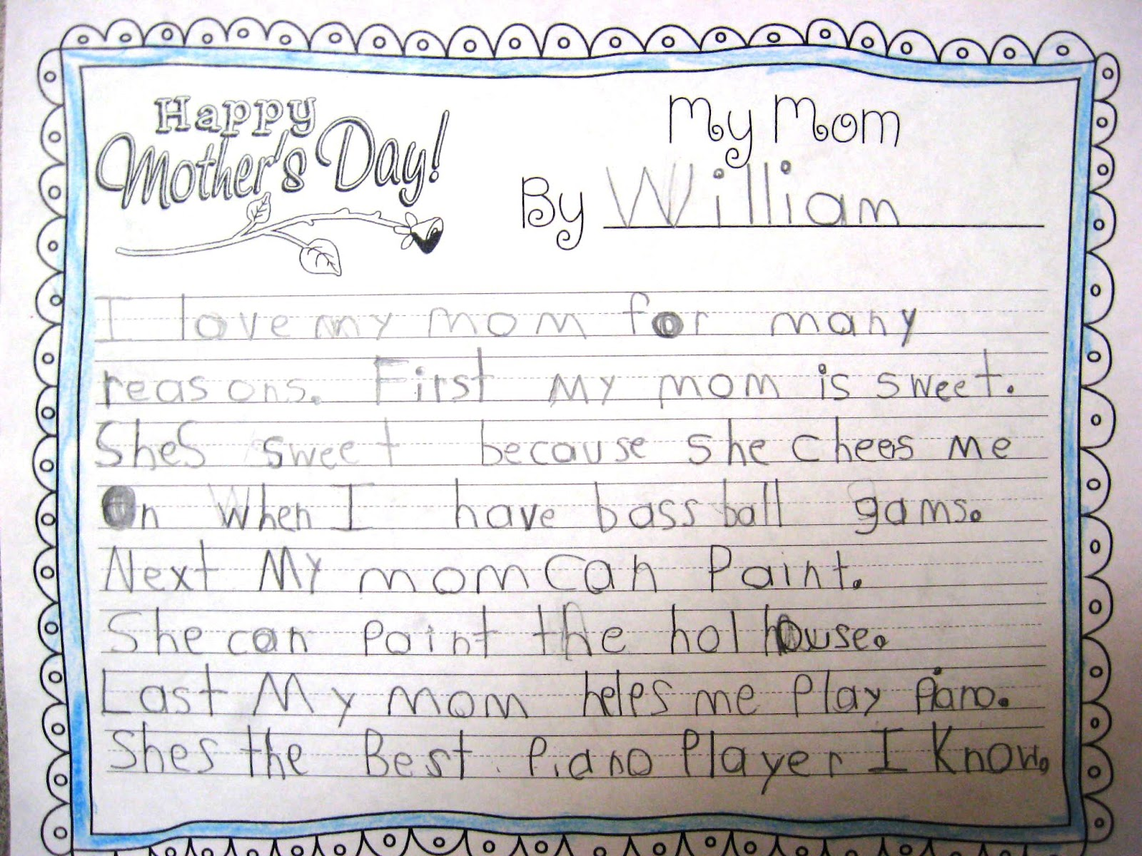 teaching love and laughter mother s day writing and two then they wrote their published essay on pretty paper here are some first grade essays