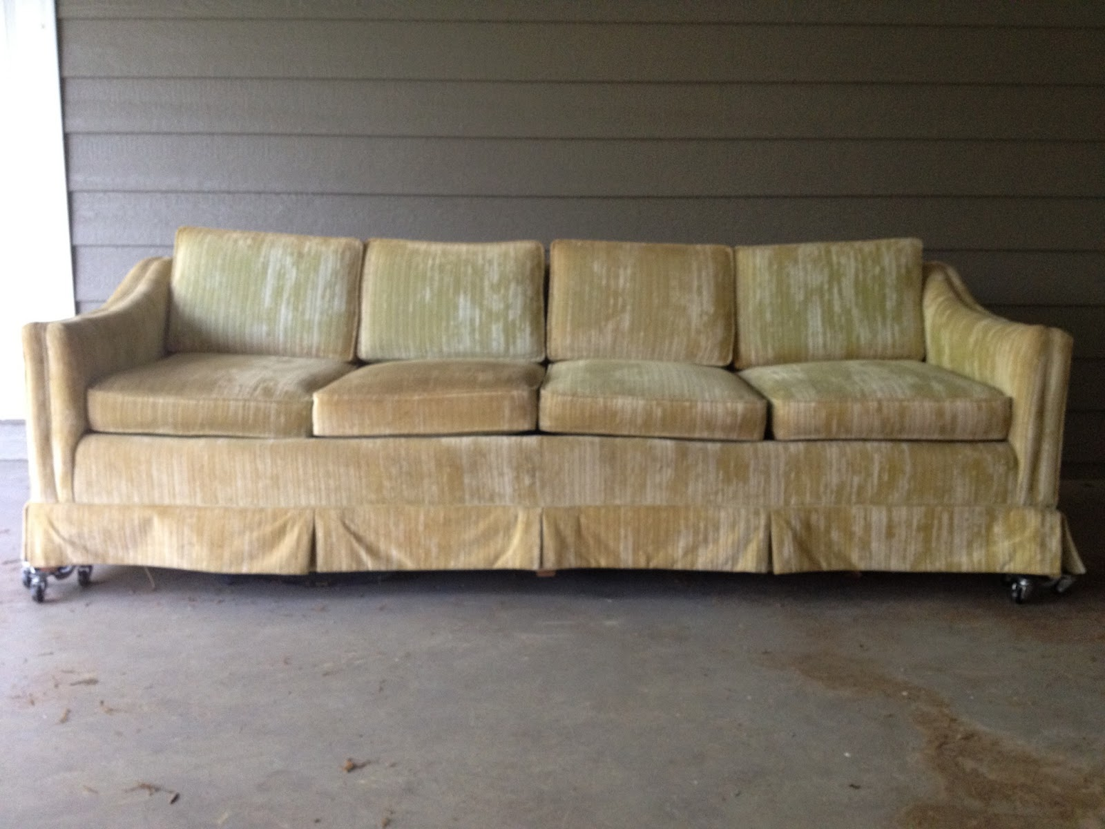 Between the rafters 60s mod couch reupholster installment 1 Reupholster loveseat