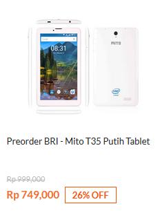 Preorder BRI - Mito T35 Tablet Putih Rp 749.000