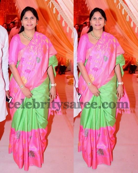 Green Half and Half Uppada Sari