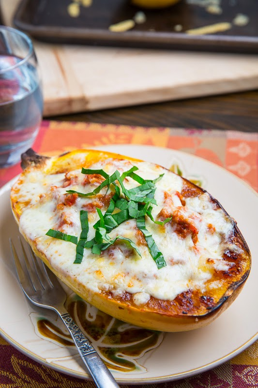 Lasagna Stuffed Spaghetti Squash on Closet Cooking