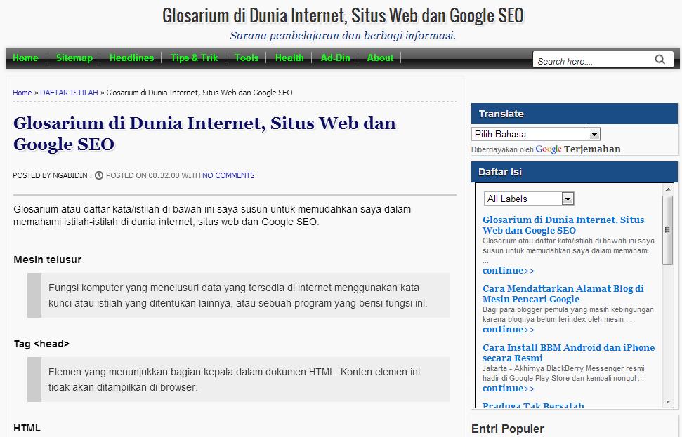Glosarium di Dunia Internet, Situs Web dan Google SEO
