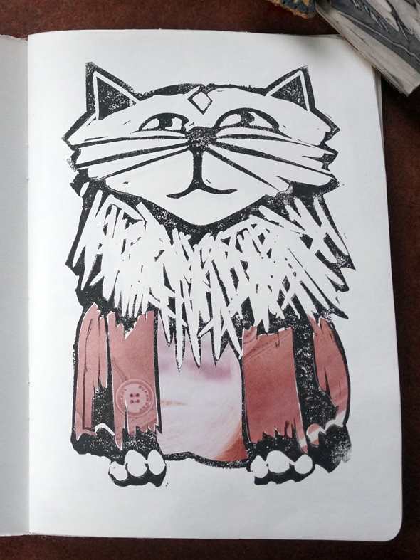linocut block print kitty cat
