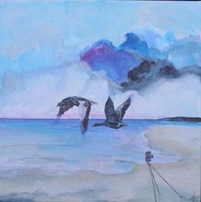 Gæs, marsk, vadehav, kunst, maleri, landskab, skyer
