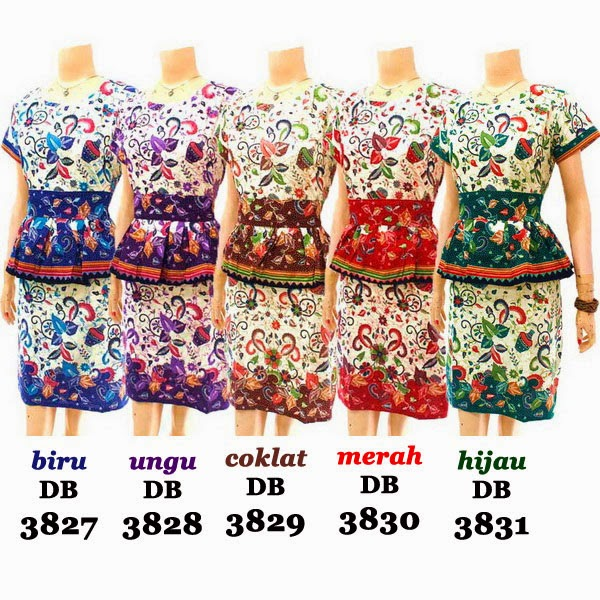 DB3827-3831 Model Baju Dress Batik Modern Terbaru 2014