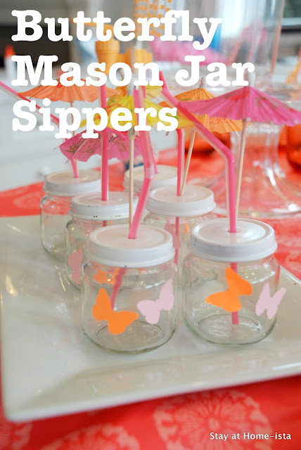 Butterfly mason jar sippers from baby food jars