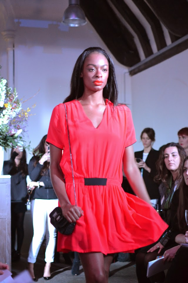 harvey nichols fashion show victoria beckham dress