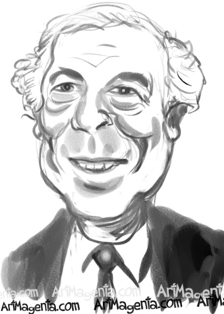 Ralph Lauren  caricature cartoon. Portrait drawing by caricaturist Artmagenta.