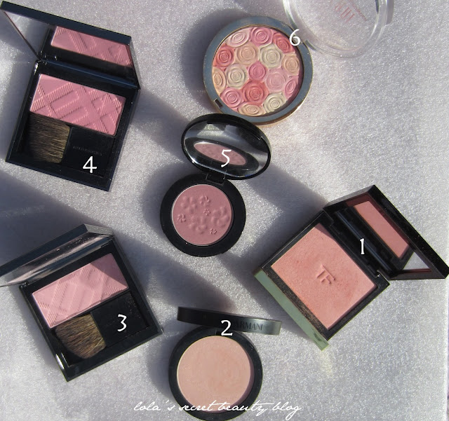 lola's secret beauty blog: By Request: Pink Blush Comparison! Giorgio Armani Sheer Blush No. 2 Pink as it Compares to Burberry Peony & Misty, Rouge Bunny Rouge Gracilis, Tom Ford Frantic Pink and Milani Beauty's Touch- Swatches Galore!