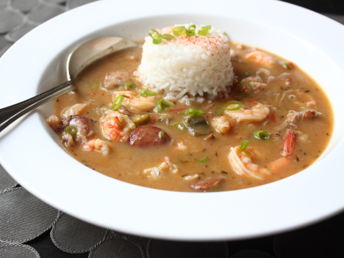 ... Andouille Sausage, Smoked Pork Hock, Gulf Shrimp and Langoustine Gumbo