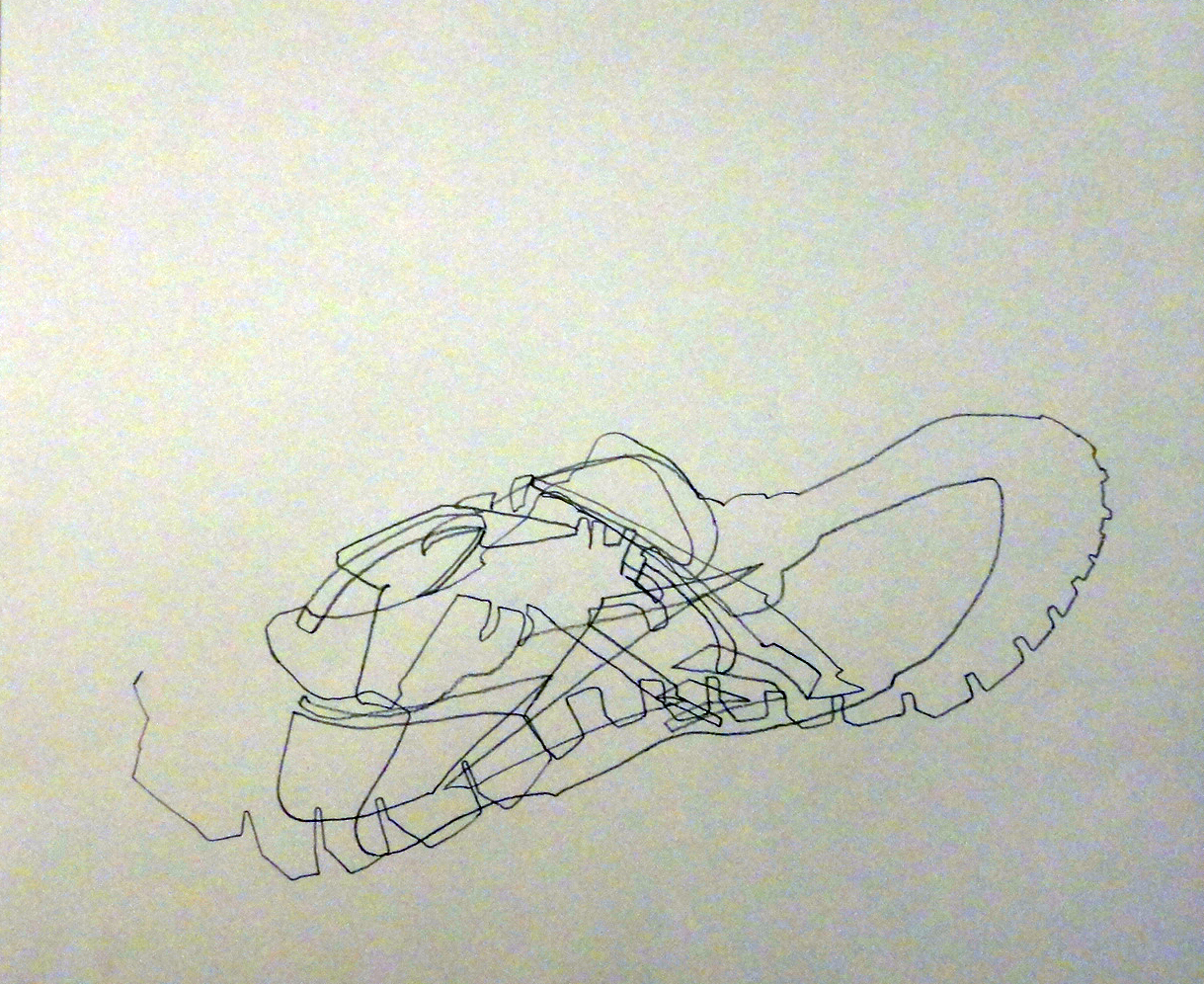 Blind Line Drawing Artists : Drawing homework one blind contour drawings of a sneaker