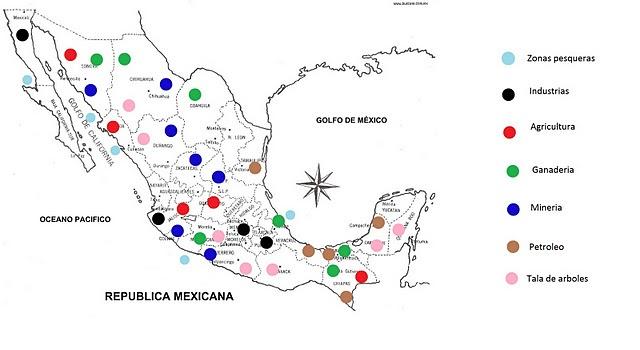 DBP Mapa De Las Principales Actividades Economicas De México - Mapa de mexico