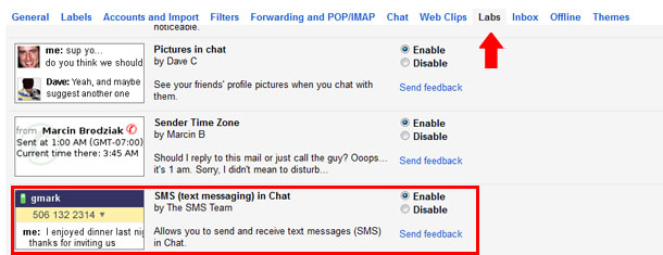 Gmail free SMS Service