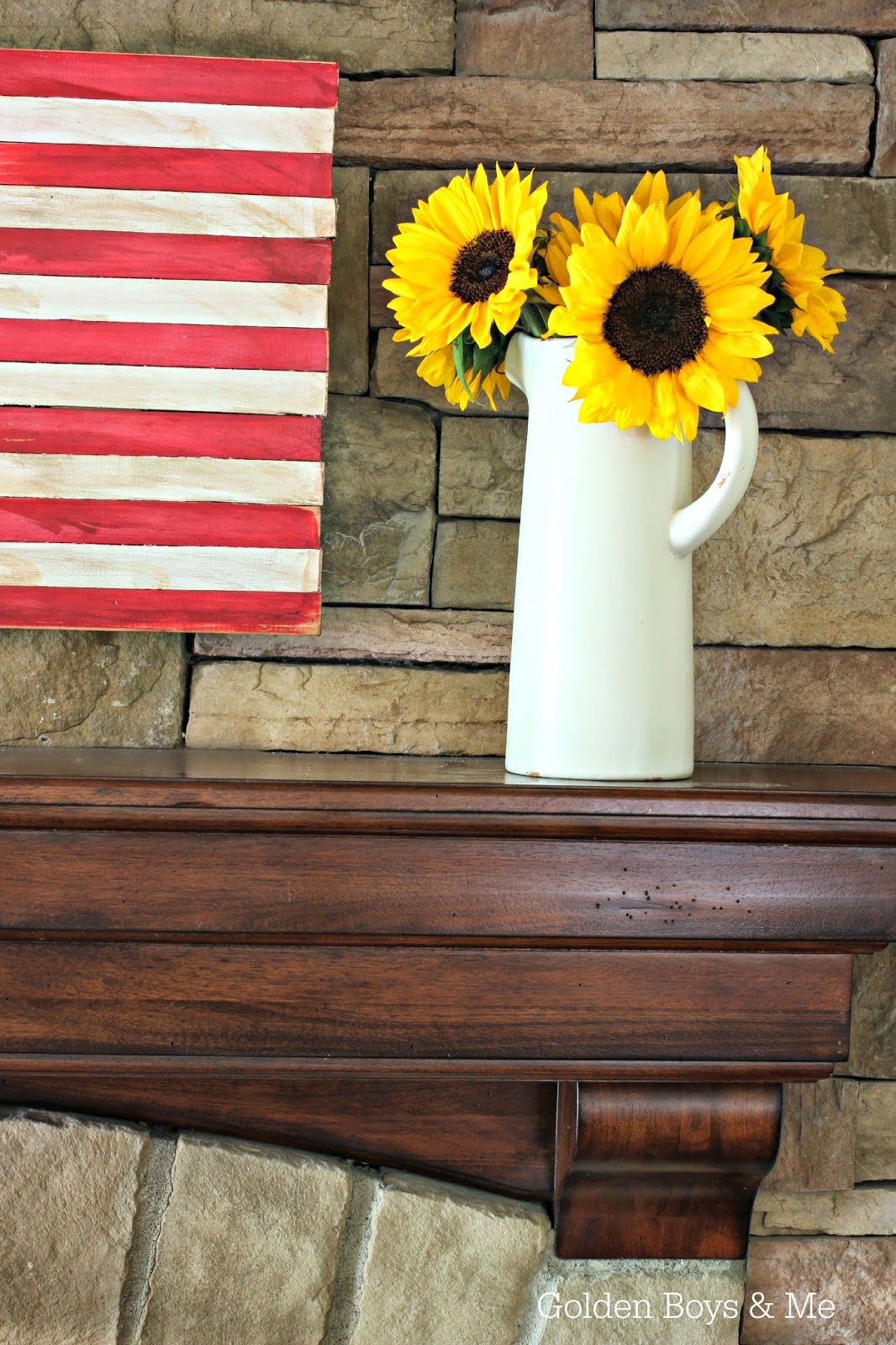Sunflowers in white pitcher and DIY wood American flag-www.goldenboysandme.com