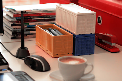 desktop organizers, ceramic, shaped like cargo containers