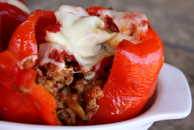 Barefeet In The Kitchen: Spicy Italian Stuffed Bell Peppers