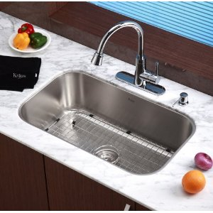 Kraus KBU14 Kitchen Sink: Kraus KBU14 30-Inch Undermount Single Bowl ...