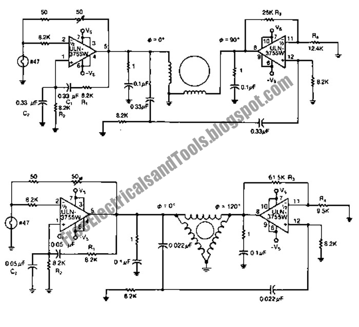 free schematic diagram  2 phase and 3 phase motor drivers circuit