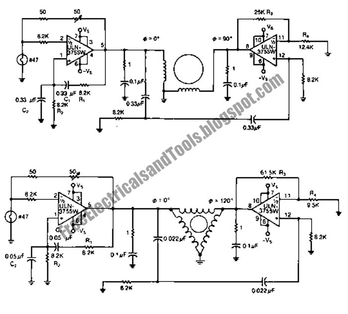 free schematic diagram  2 phase and 3 phase motor drivers