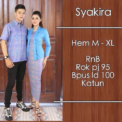 Baju Batik Pasangan (Sarimbit) Syakira Biru Muda