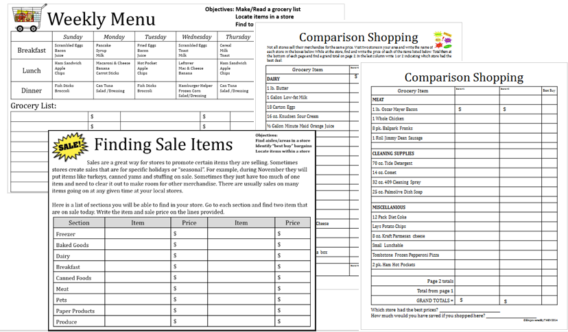 Empowered By THEM Community Based Instruction – Comparison Shopping Worksheets
