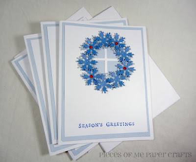 handmade wreath Christmas card