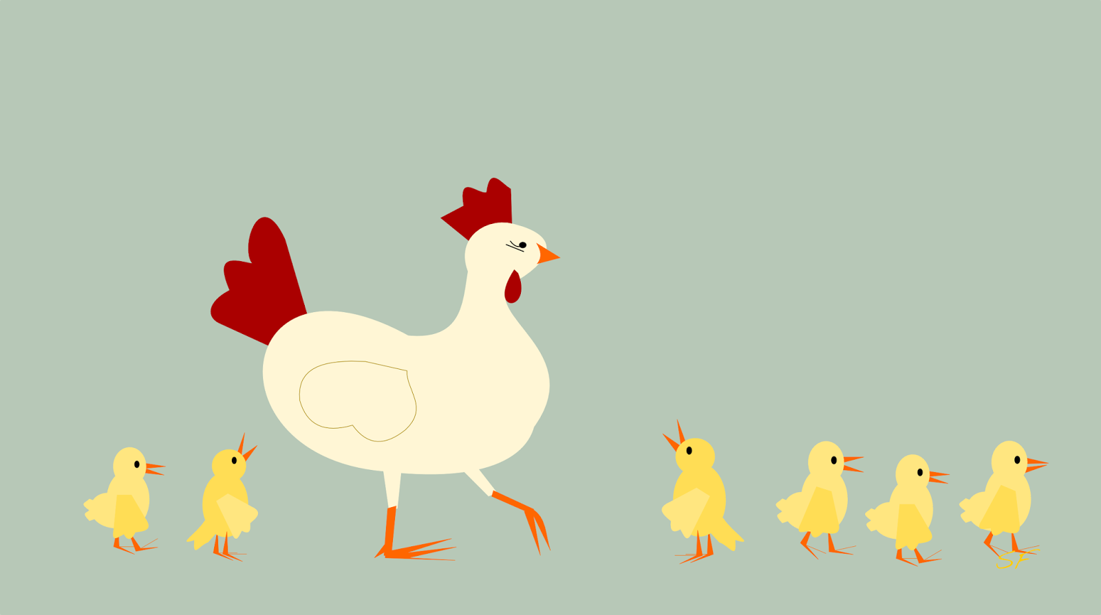 hen and baby chickens card