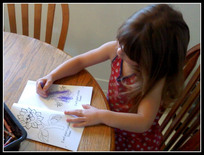 Wednesday the kids colored these flower garden minibooks . title=