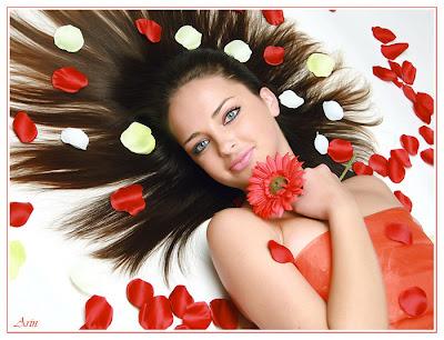 imagen dia de la primavera+flores+mujer+rosas