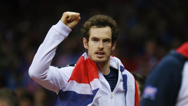 Great Britain's Andy Murray celebrates after beating Belgium's David Goffin to win the Davis Cup. (REUTERS)