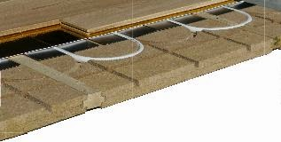 Détail du plancher chauffant sec et mince Caleosol eco plus avec lambourde