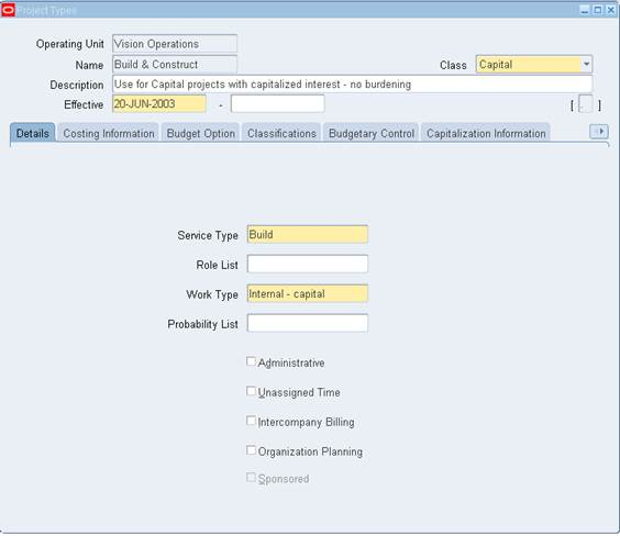 Oracle Applications: Oracle Project Type and Template Setup Steps