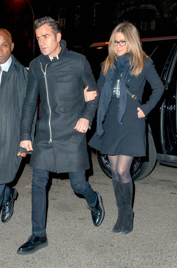 Jennifer Anniston with Justin Theroux in All Saints Fall Winter 2014 Barton side zip bog pocket coat