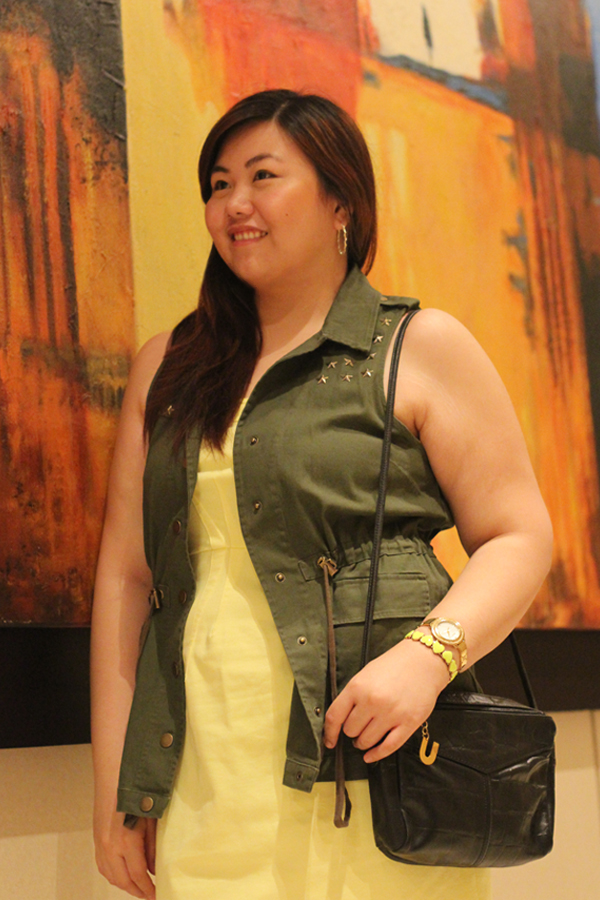 Utility Green Vest, Star Studded, Plus Size Yellow Tube Dress, Curvy Blog, Asian Plus Size Blogger, Body Positive