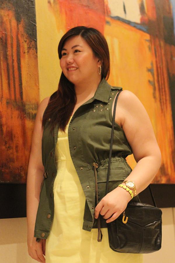 Utility Green Vest, Star Studded, Plus Size Yellow Tube Dress, Curvy Blog, Asian Plus Size Blogger, Body Positive