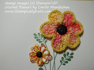 Card decorated with Stampin'UP! Embellished Events and hand crocheted flowers
