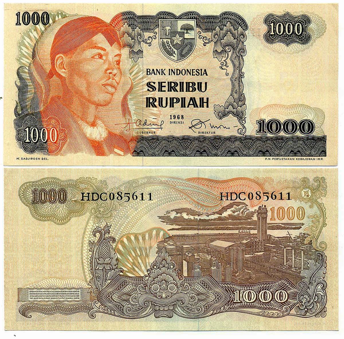 uang kuno Seri Soedirman tahun 1968 Pecahan 1000 rupiah