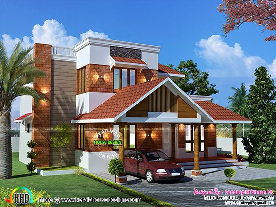 Laterite stone wall cladding house front elevation