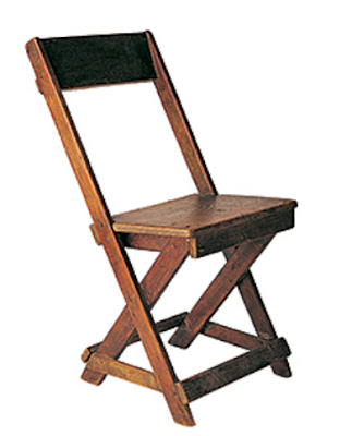 Chair carved from scrap wood by Japanese-American internees during WW2