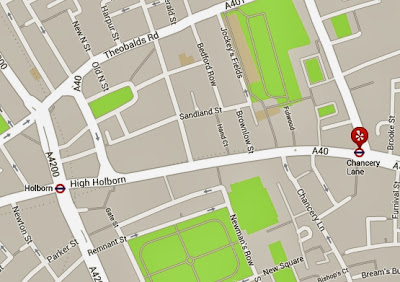 Map Holborn and Chancery Lane tube stations