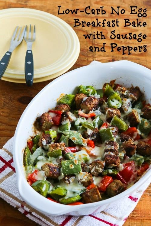 Low-Carb No Egg Breakfast Bake with Turkey Breakfast Sausage and Peppers found on KalynsKitchen.com