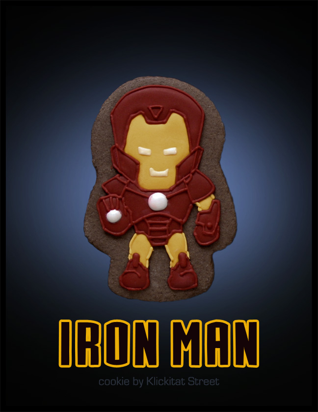 decorated sugar cookie of Marvel Avengers movie character Iron Man